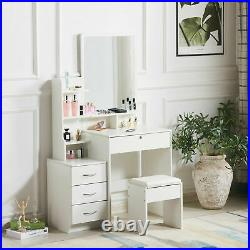 Modern White Dressing Table Jewelry Makeup Desk with Mirror, Stool Set & 4 Drawers