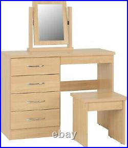 Nevada 4 Drawer Dressing Table Set Including Stool and Mirror Sonoma Oak Effect