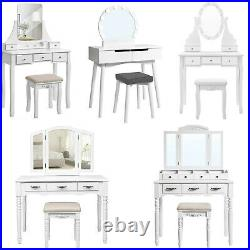 SONGMICS Dressing Table with Mirror Drawer Stool Wood Make-up Desk Bedroom
