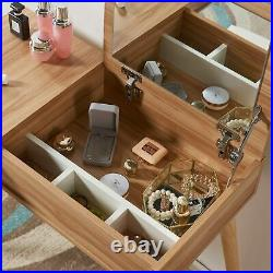 Scandinavian Nordic Style Dressing Table Set With Mirror Stool Vanity Desk Console