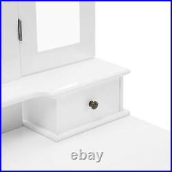 Shabby Chic White Dressing Table 3 Fold Mirrors Vanity Makeup Desk and Stool Set