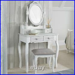 Shabby Chic White Grey Upholstered Dressing Table Stool (stool Only)