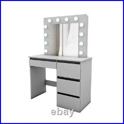 Silk Grey Dressing Table MDF Wood Makeup Desk with Mirror 4 Drawers & Stool & LED