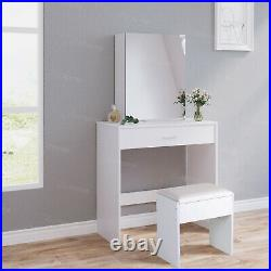 Sliding Mirror Dressing Table+Stools Jewelry Makeup Desk withLarge Drawer Bedroom