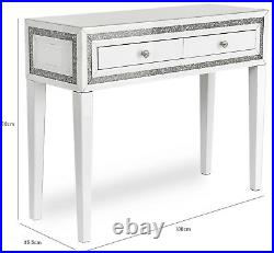 Snow Pearl White Glass Two Drawer Dressing Table and Dressing Stool