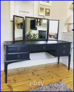 Stag Minstrel Dressing Table, Ornate Mirrors & Stool Hand Painted in Grey/Black