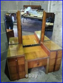 Stunning art deco mirrored dressing table and stool, top quality 1930s elegance