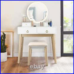 Vanity Dressing Table Set Make up Table Desk Cushioned Stool withLighted Mirror