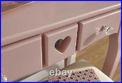 Vanity Dressing Table With Stool & Mirror Pink 2 Drawer Dresser Heart Design