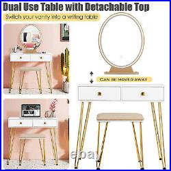 Vanity Makeup Dressing Table Wooden Cosmetic Table Stool Set With Light & Mirror
