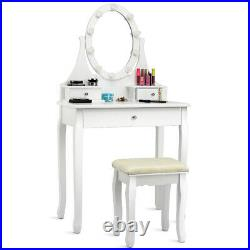 Vanity Mirrored Dressing Table Stool Set Makeup Dresser Desk With 3 Drawers