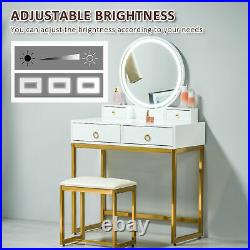 Vanity Table Set Dressing Table with LED Light, 4 Drawers Cushioned Stool