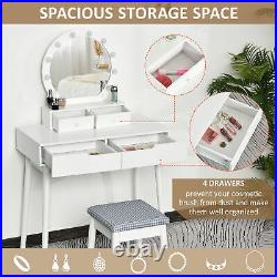 Vanity Table Set Dressing Table with Lights Drawer Cushioned Stool Makeup Table