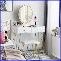 Vanity Table Set Make up Dressing Table Desk Cushioned Stool withLighted Mirror