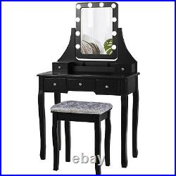 Vanity Table Set with Mirror Soft Cushioned Stool Makeup Desk with5 Drawers Bedroom