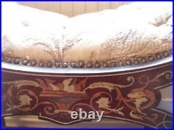Victorian/ edwardian antique inlaid x frame curved piano / dressing table stool