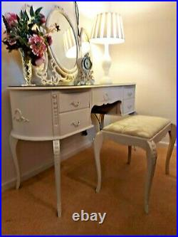 Vintage French Louis Style Dressing Table With Triple Mirrors And Stool