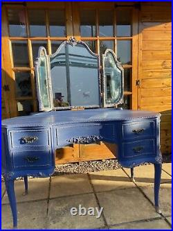 Vintage Louis style french ornate dressing table, Mirror, Stool
