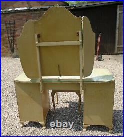 Vintage/Retro Dressing Table with Triple Mirror / Drawers / Cupboards & Stool