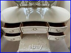 Vintage Shabby Chic French Louis Dressing Table Table & Stool