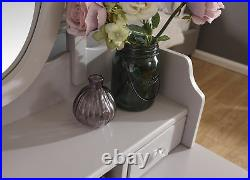 Vintage Style Grey Dressing Table Padded Stool Oval Mirror Drawers 3pc Set