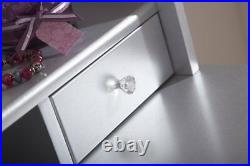 Vintage Style Silver Dressing Table Padded Stool Oval Mirror Drawers 3pc Set
