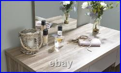Walnut Grey Dressing Table Set with Stool and Mirror 3 Drawer Bedroom Furniture