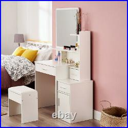 White 3 Drawers Makeup Dressing Table with Mirror Stool Set Bedroom Furniture UK