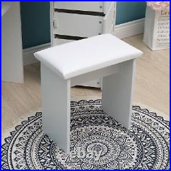 White Corner Dressing Table Set Makeup Desk with3 Large Mirrors, 5 Drawers &Stool