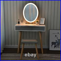 White Dressing Makeup Table Stool Set Vanity Desk withLED Lighted Mirror Bedroom