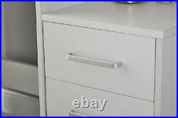 White Dressing Table Jewelry Makeup Desk with Mirror, Stool Set & 4 Drawers