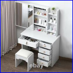 White Dressing Table Jewelry Makeup Desk with Sliding Mirror, Stool Set & 6 Drawers