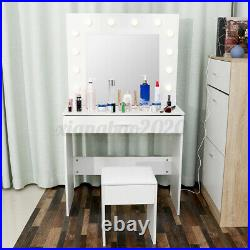 White Dressing Table Makeup Desk withLED Lighted Mirror&Drawer, Stool Bedroom