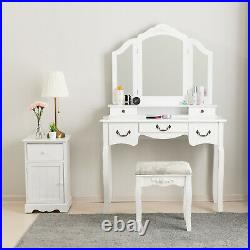 White Dressing Table Makeup Desk with 3 Folding Mirrors, 5 Drawers & Stool