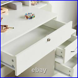 White Dressing Table Makeup Table with Sliding Mirror, Stool Set and 4 Drawers