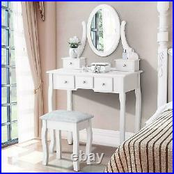 White Dressing Table Set With Stool 5 Drawers Mirror Jewelry Makeup Desk Wood