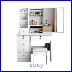 White Dressing Table Stool set, 6 Drawers 3Tier With Sliding Mirror Makeup Desk