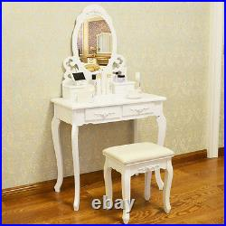 White Dressing Table Vanity Makeup Desk with 4 or 7 Drawers, Mirror and Stool