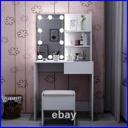 White Dressing Table With Drawer Stool Mirror LED Lights Jewelry Make Up Desk UK
