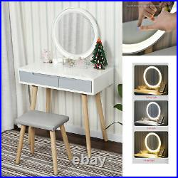 White Dressing Table Wooden Makeup Desk Mirror Cushion Stool Drawers Set Bedroom
