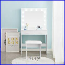 White LED Dressing Table With Mirror Stool 2 Drawers Bedroom Makeup Desk Modern