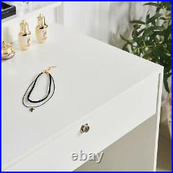 White Modern Dressing Table Set Jewelry Makeup Desk withMirror, Stool & 4 Drawers