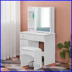 White Vanity Table Dressing Table Makeup Desk with Slide Mirror 5 Drawers Stool