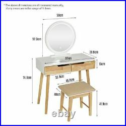 Wooden Dressing Table Makeup Vanity Desk with LED Lights Mirror Cushion Stool Set